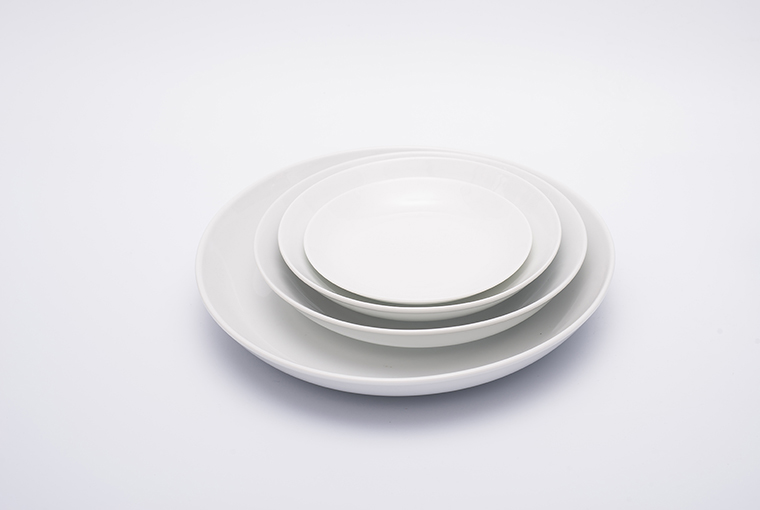Great white round flat moon plate with reinforced rim for hotel catering 1