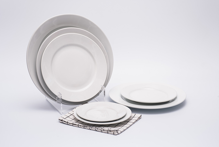 Great white plate with reinforced rim for hotel catering 9
