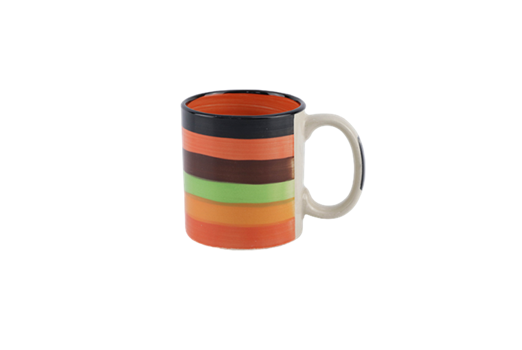 11oz stripe pattern hand-painted mug with red color inside