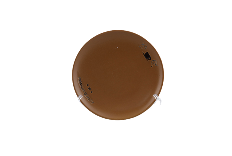 10.5'' brown beige color glazed ceramic  plate with silk screen pattern