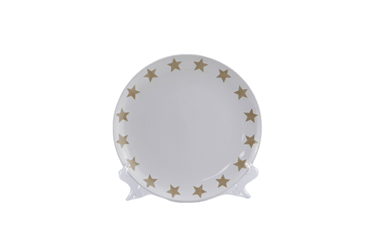 wholesale 10.5'' white color glazed  ceramic  plate with  silk screen pattern