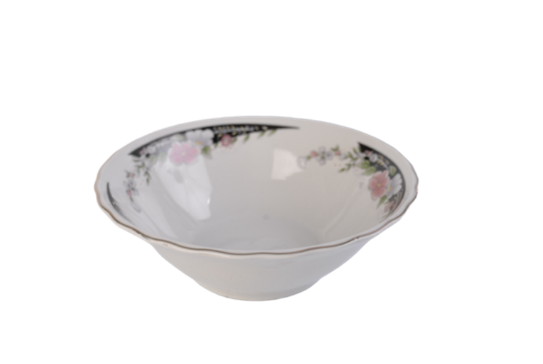 7'' white porcelain bowl with flower decal inside