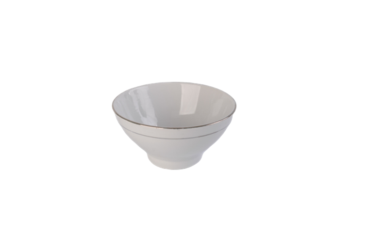 5.5'' white porcelain bowl with line decal and golden rim , classic design