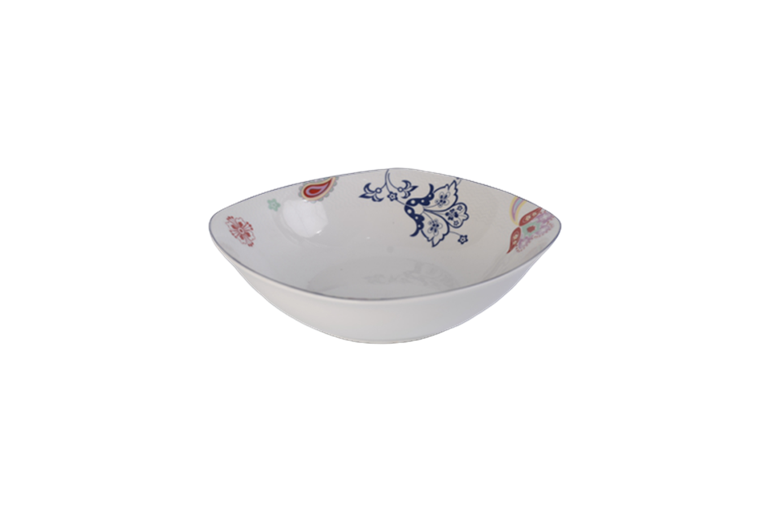 9'' white porcelain bowl with flower decal inside, russian style