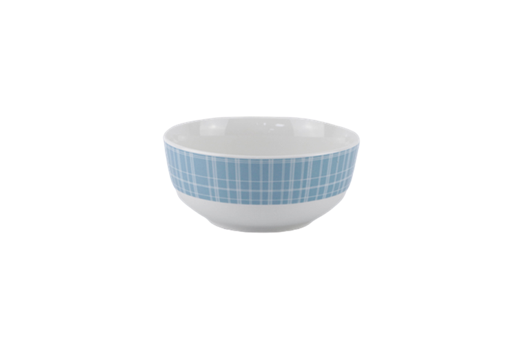 5.5'' white porcelain bowl with blue decal, classic design