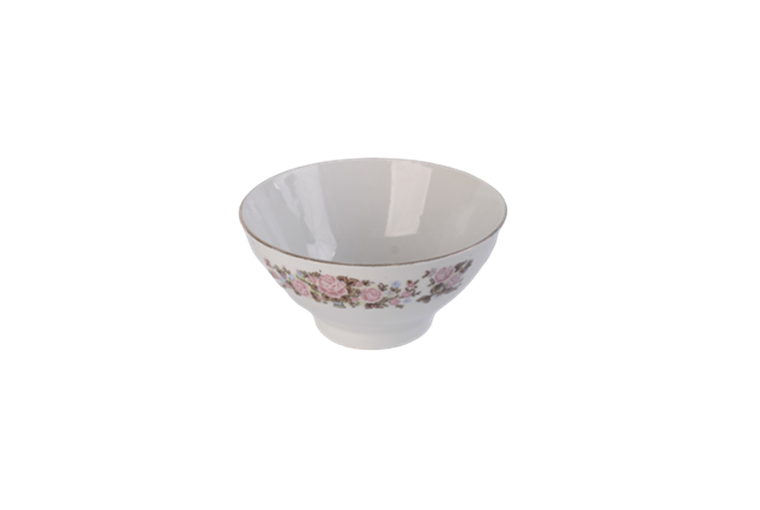 5'' white porcelain bowl with flower decal
