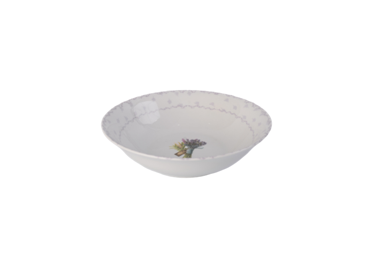 9'' white porcelain bowl with flower decal inside, classic design