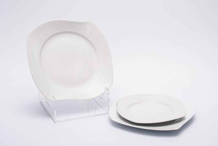 Square Great white plate with reinforced rim for hotel catering  3