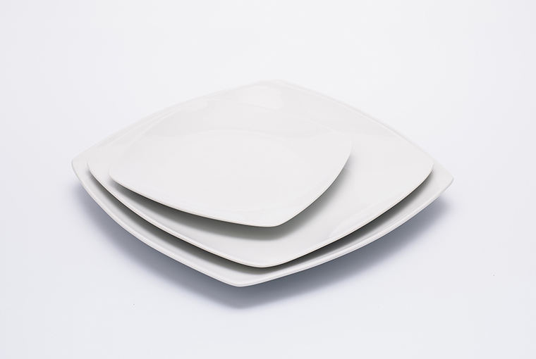 Square Great white plate with reinforced rim for hotel catering  5