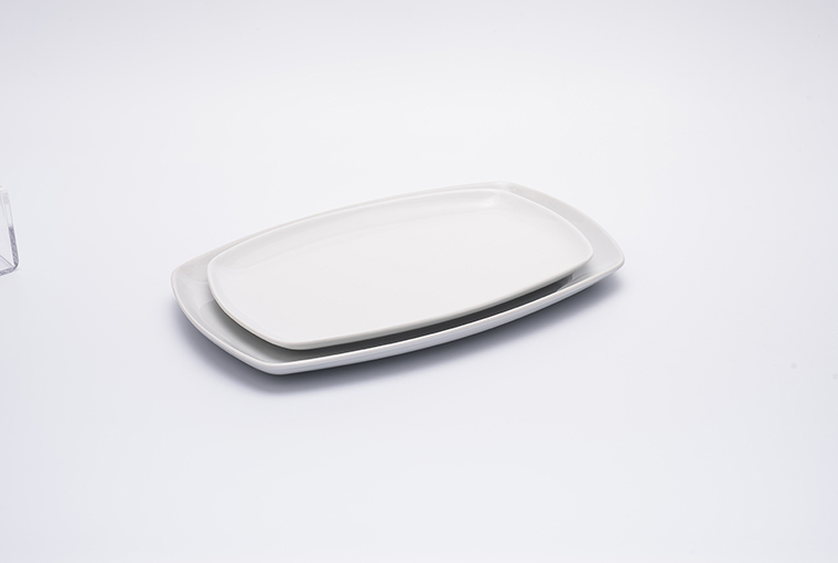 Rectangle Great white plate with reinforced rim for hotel catering  7