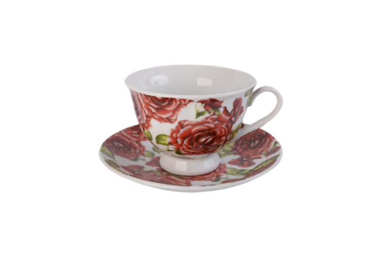 220cc flower pattern coffee sets with tray 18